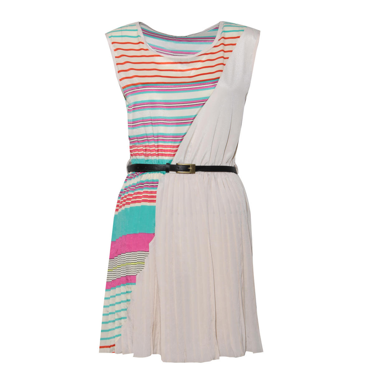 SIZE S/M ONLY White Stripe Belted Pleat Dress  Preview